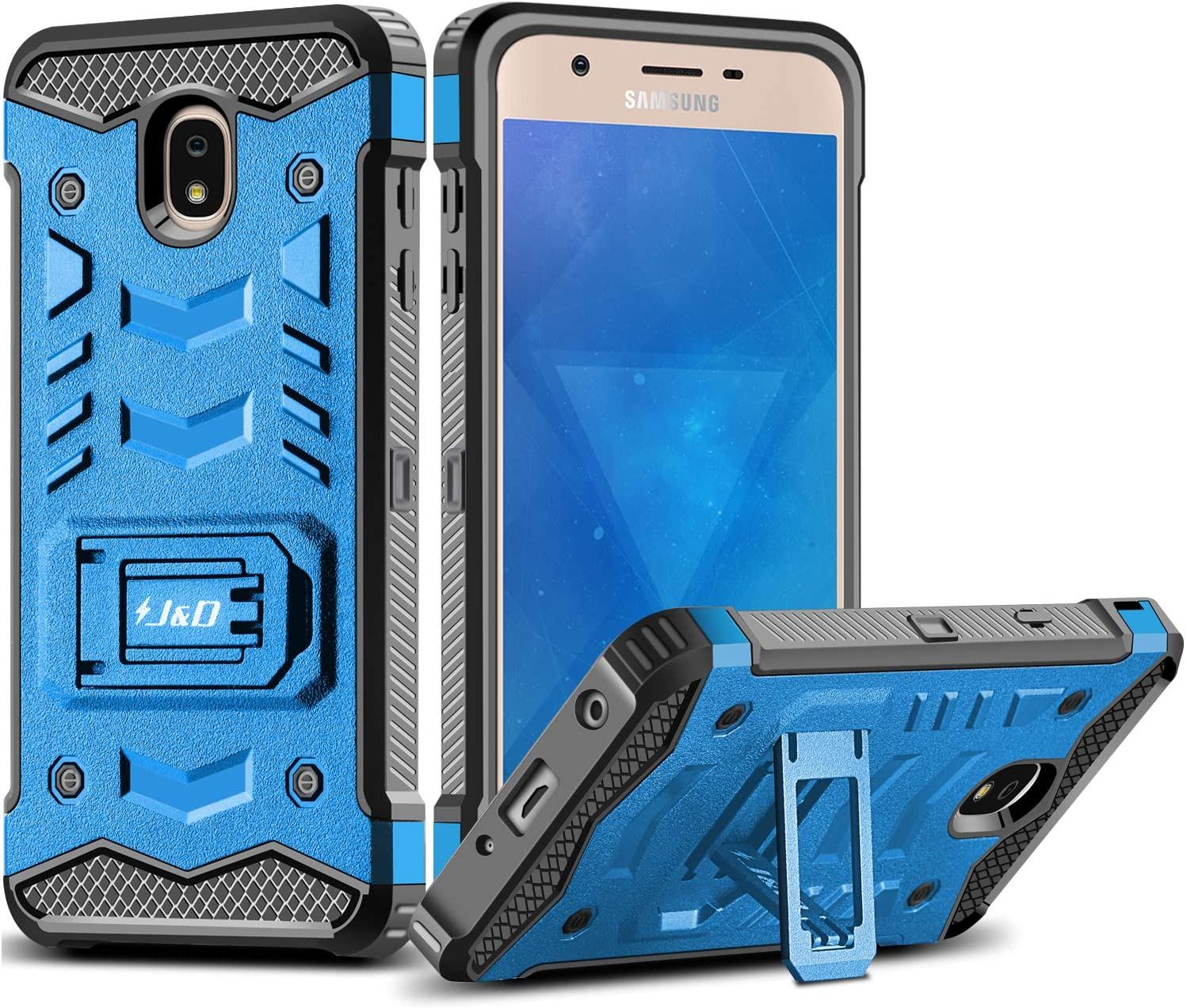 J&D Case Compatible for Galaxy J7 2018/J7 V 2nd Gen/J7 Refine/J7 Star Case with Kickstand, [Holster Belt Clip Combo] [360° Rotating] Rugged Protective Case for Samsung Galaxy J7 2018 Holster Case