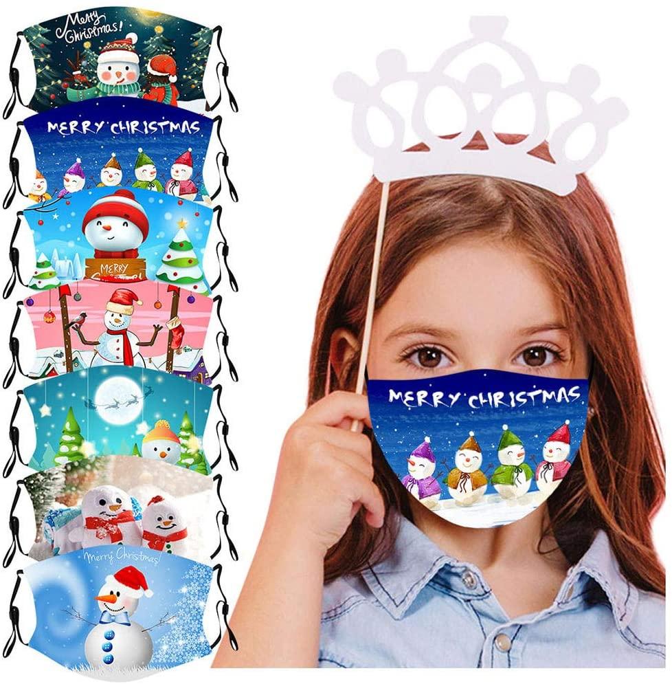 KYLEON Kids Children Daily Use School Use 7Pcs Snowman Santa Claus Cute Print Adjustable, Halloween Christmas Party Use