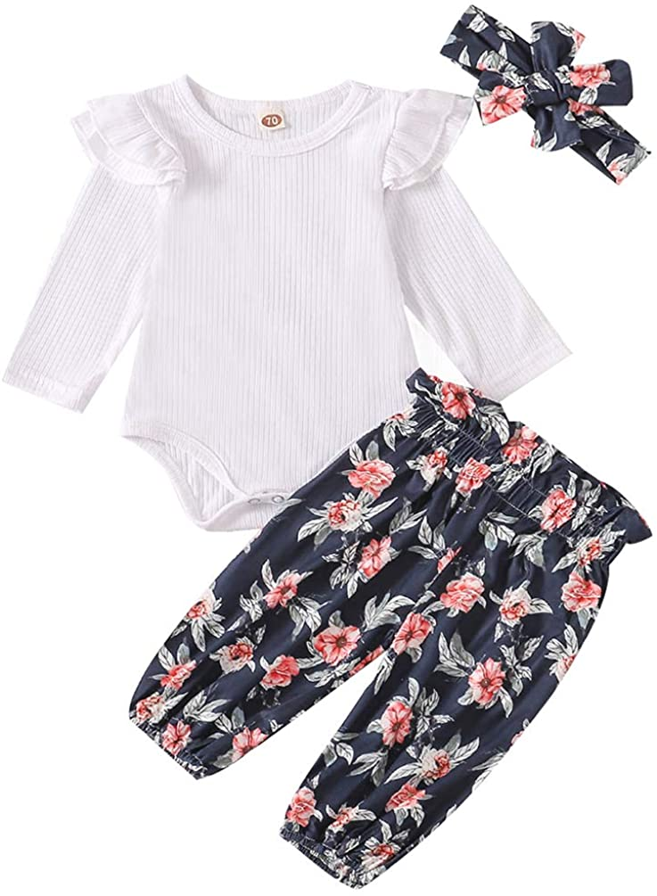 Newborn Baby Girls Outfit Ribbed Ruffle Romper+Floral Pants+Headband Clothes Set