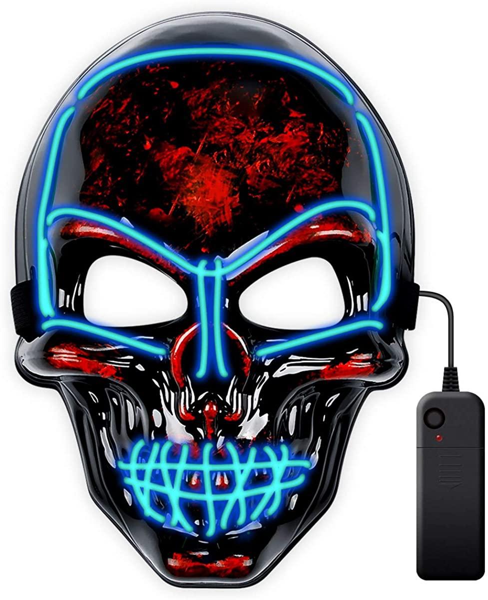 lychee Halloween Cosplay Led Mask Skull Skeleton Light Up Full Face Mask for Festival Cosplay Halloween Costume