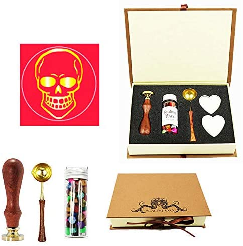 YGHM Skull Wax Seal Stamp Kit Gift Book Box Rosewood Handle Wax Beads Melting Spoon Set,Wedding Invitations Letters Seal Stamp