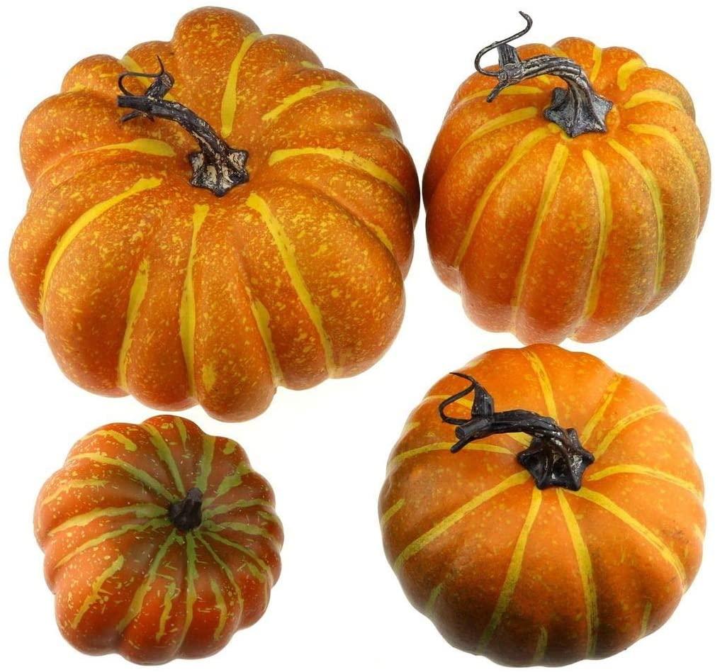 Gresorth 4 PCS Fake Pumpkins Artificial Vegetable Fall Autumn Halloween Christmas Decoration