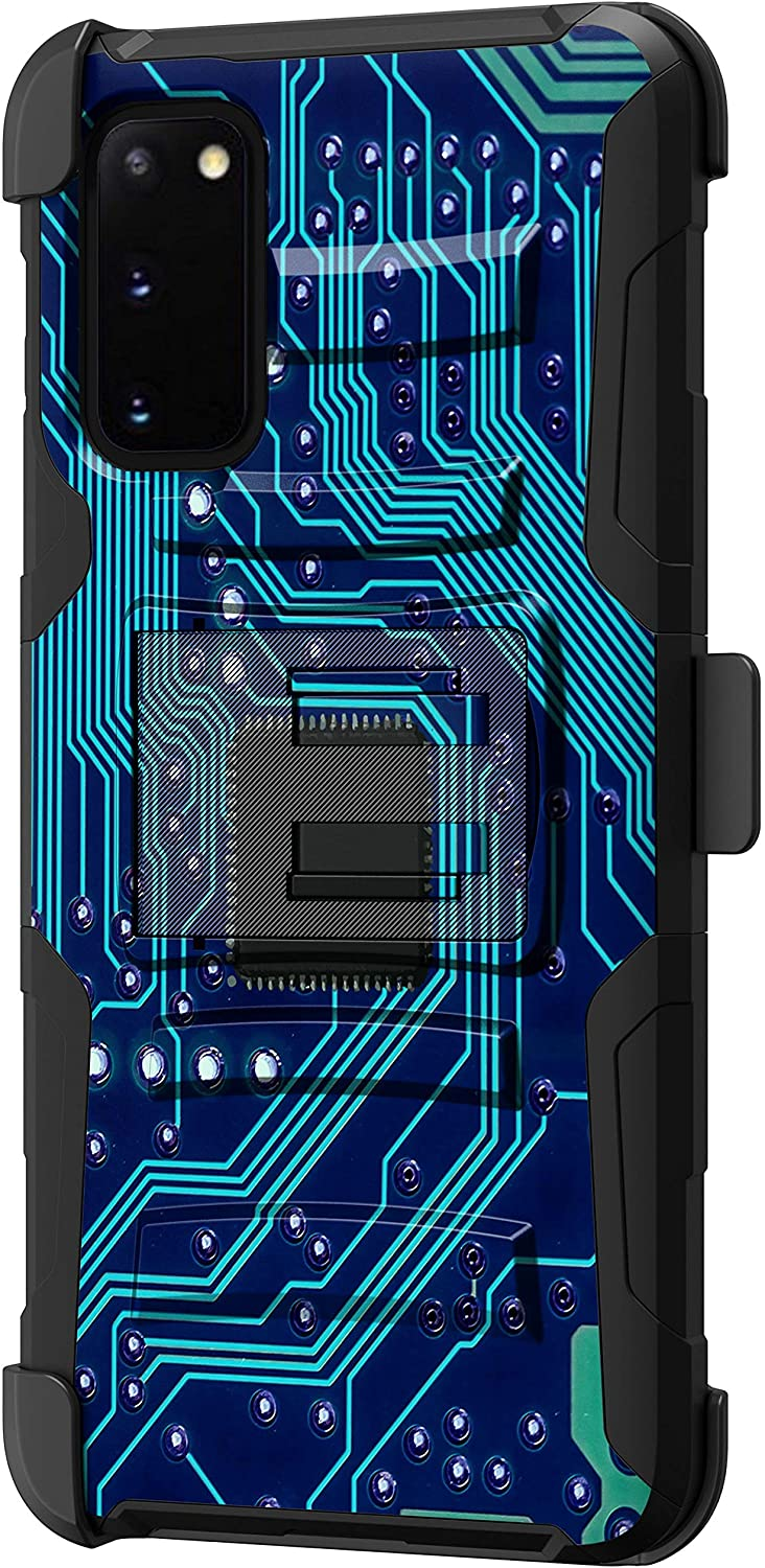 TurtleArmor | Compatible with Samsung Galaxy S20 Case 6.2 | Samsung Galaxy S11e Case [Hyper Shock] Rugged Hybrid Dual Layer Armor Holster Belt Clip Case - Phone Circuit Board