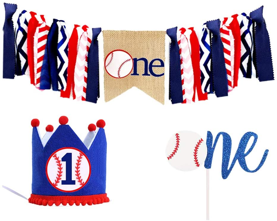 Amosfun 3pcs Baseball Theme 1st First Birthday Highchair Banner Birthday Crown Hat One Cake Topper Set First Birthday Party Decorations Supplies