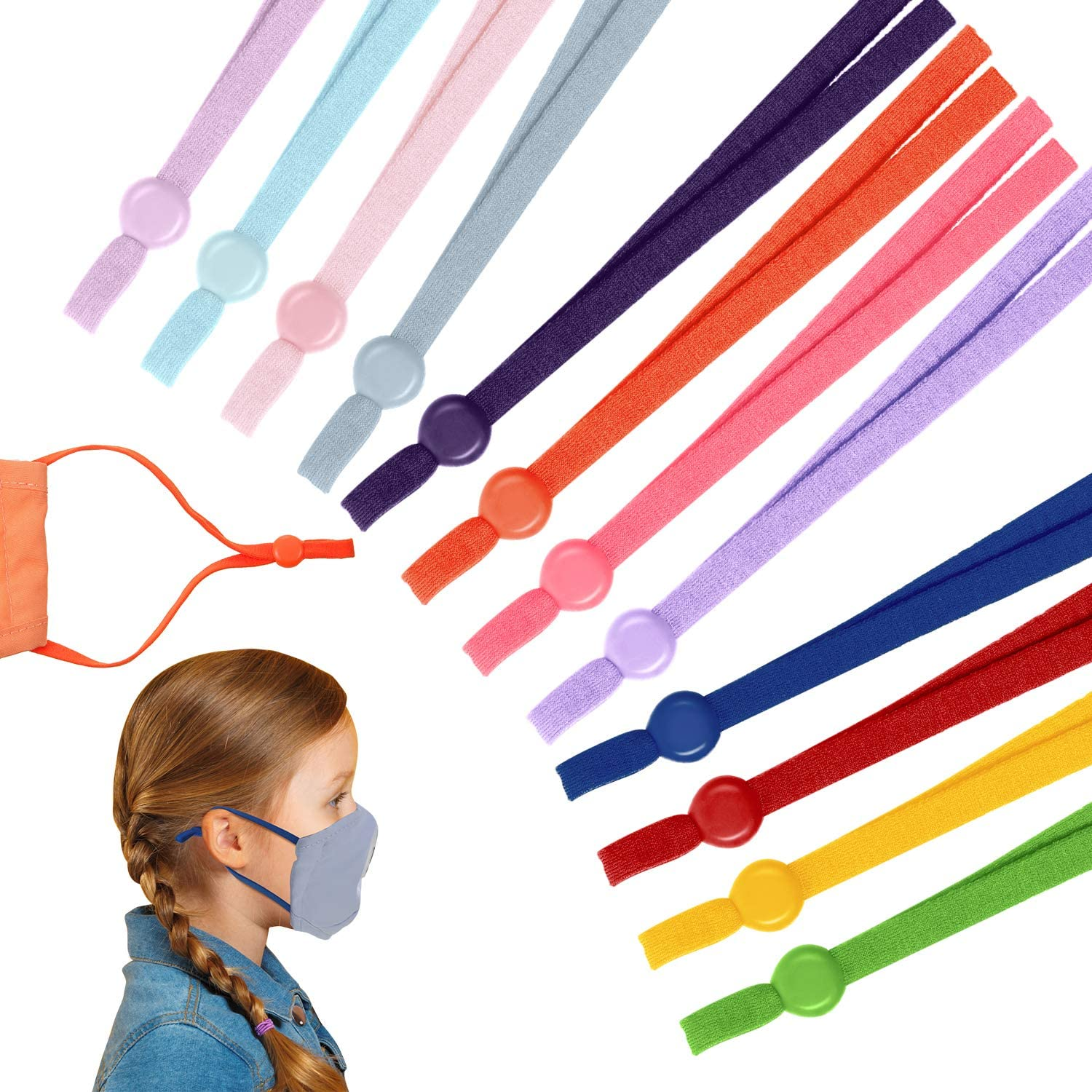 120 Pieces Sewing Elastic Cord Bands Colorful Stretchy Ear Band Straps Adjustable String Bands with Adjustable Buckles Anti-Slip Cord Locks for DIY Sewing Crafts (Dark Colors)