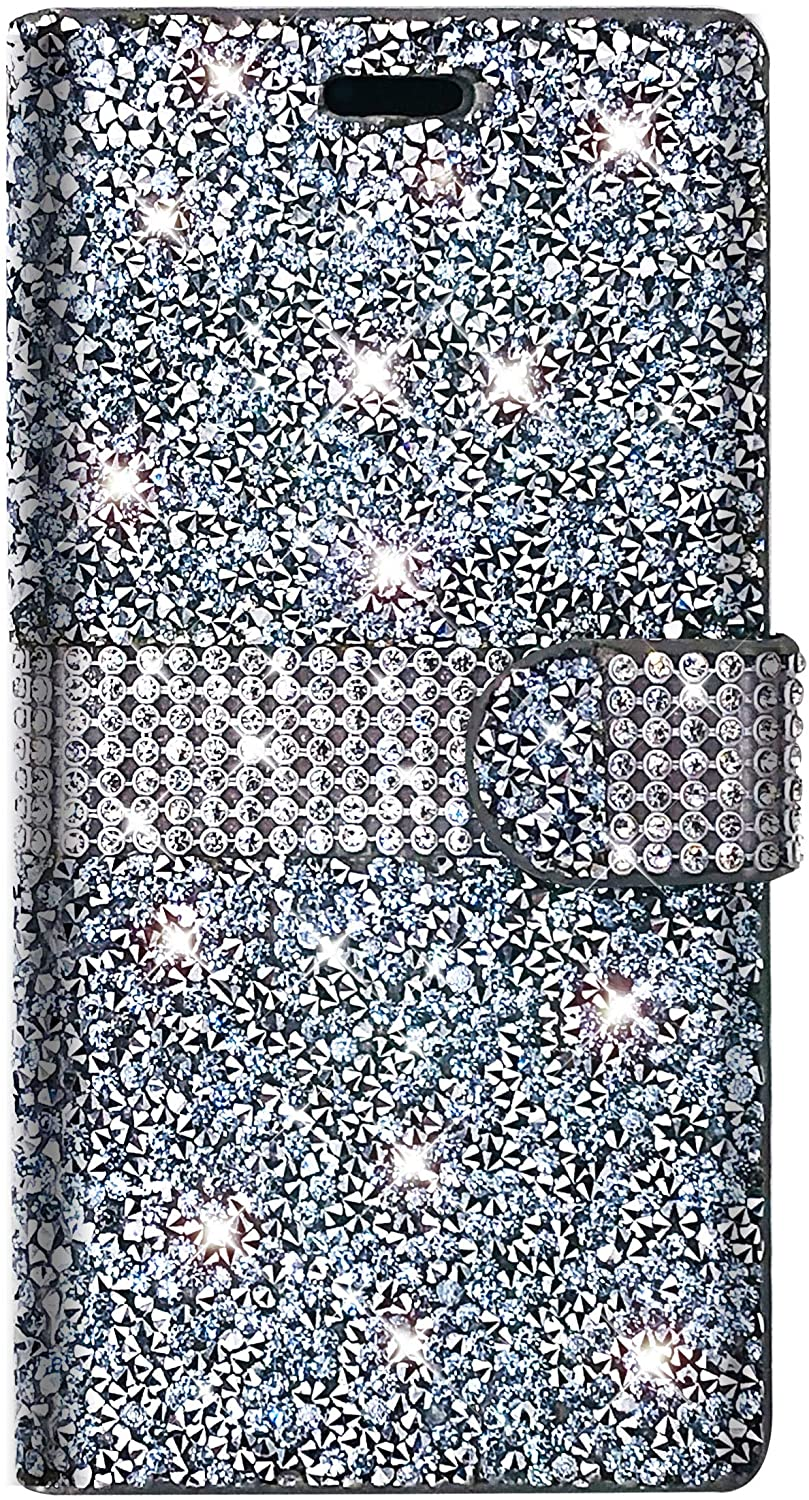 PinyCase Bling Rhinestone Wallet Case for Samsung Galaxy Note 10 + Plus 5G Glitter Stand Sparkle Crystal Diamond Flip Card Slot Luxury Girl Women Phone Cover Fit Note10+ Note10Plus (Silver)