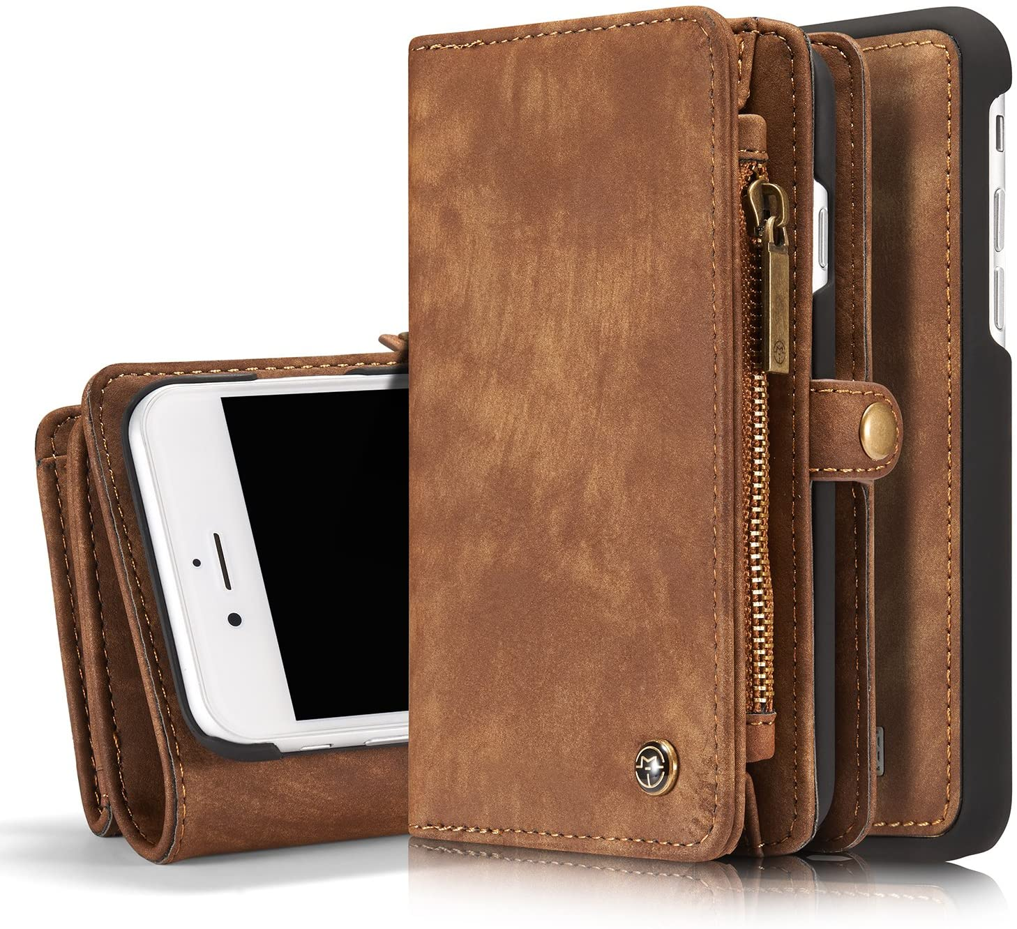 MOONORN iPhone 7 / iPhone 8 Wallet Case - Detachable Leather Phone Wallet Magnetic Flip Case Shockproof Cell Phone Case with Credit Card Slots (Brown)