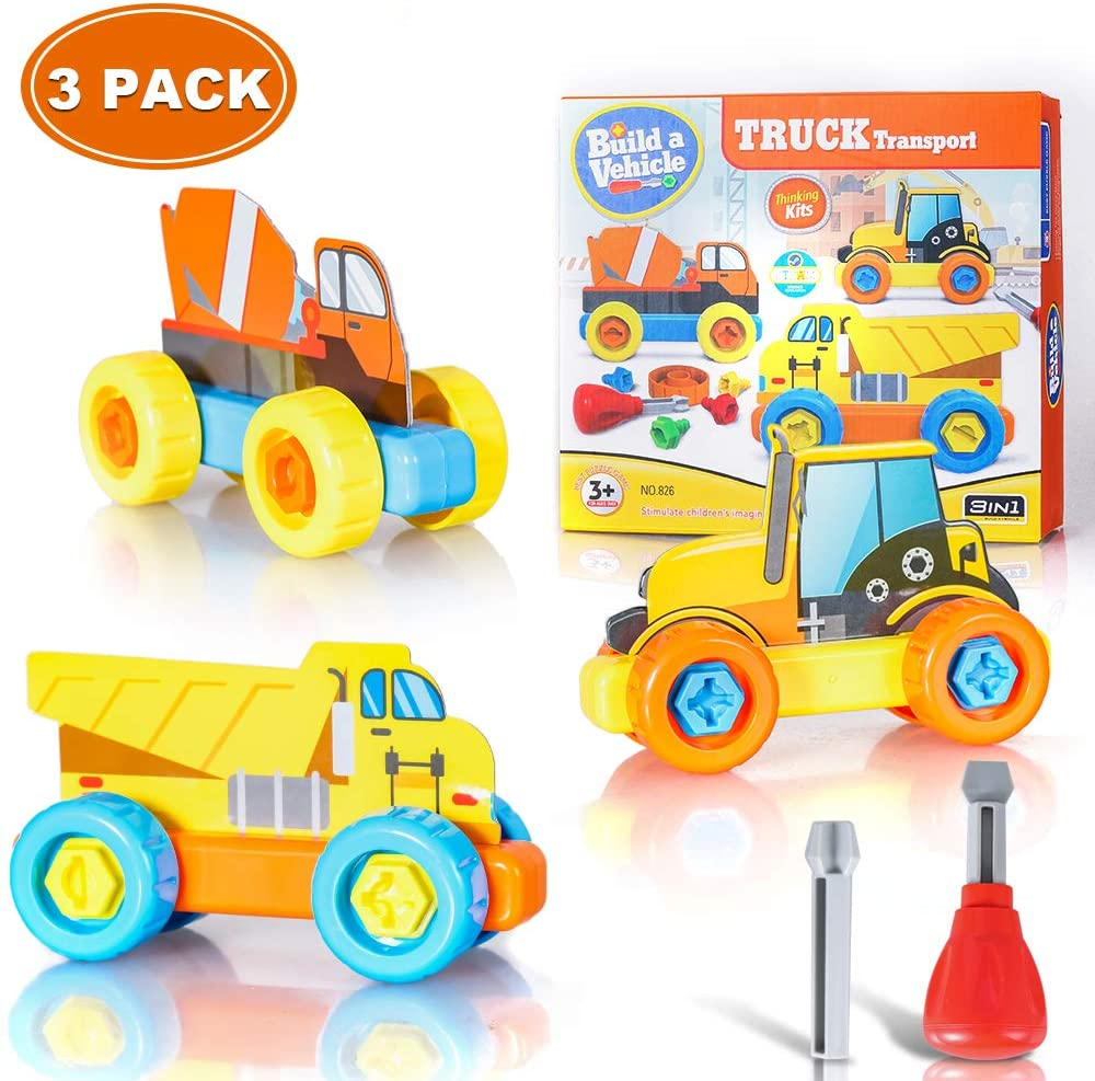 Toy Cars Take Apart Toys, Toy Cars Trucks Toys Educational Toys For 3 4 5 6 7 Year Old Boys Girls ,Toddler Boy Toys Learning Toys ,Car Toys Building Toys For Early Education (3 Pack)(Truck Transport)…