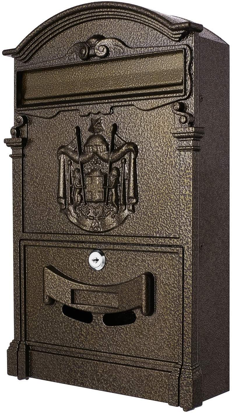 Caroma Classical Villa Mailbox Pastoral Retro Wall Letter Box Waterproof Outdoor Post Mailbox with Lock, Retro Wall-Mount Mailbox 16×9.5×3inch (Bronze)