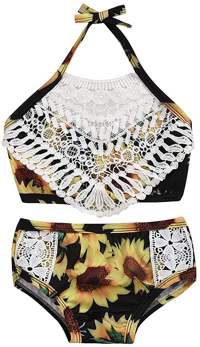 puseky 2pcs Kid Toddler Girl Swimsuit Floral Halter Bikini Set Top + Short Bathing Suit