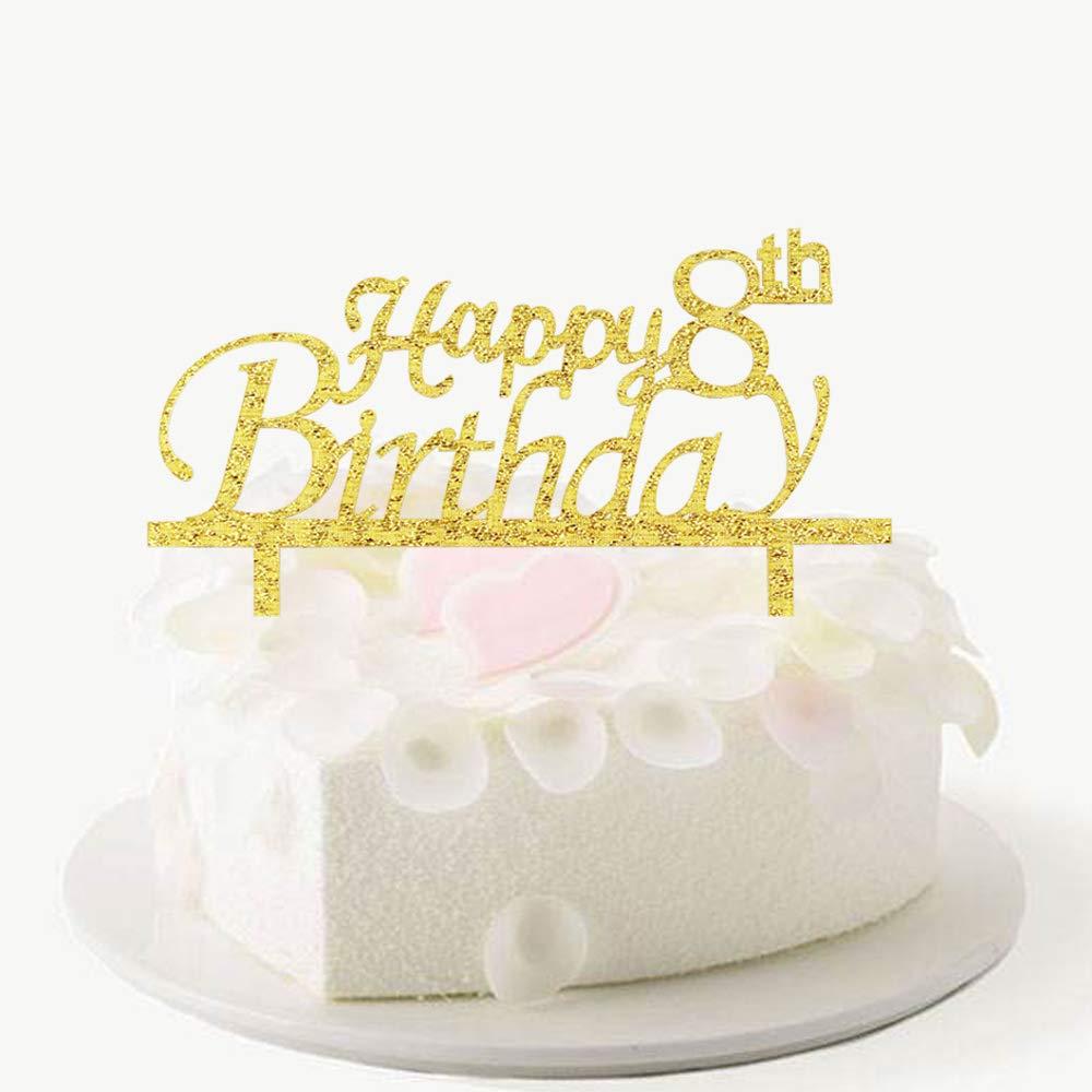 Happy 8th Birthday Cake Topper, Gold Acrylic Cake Topper, 8th Birthday Party Decorations-Gold