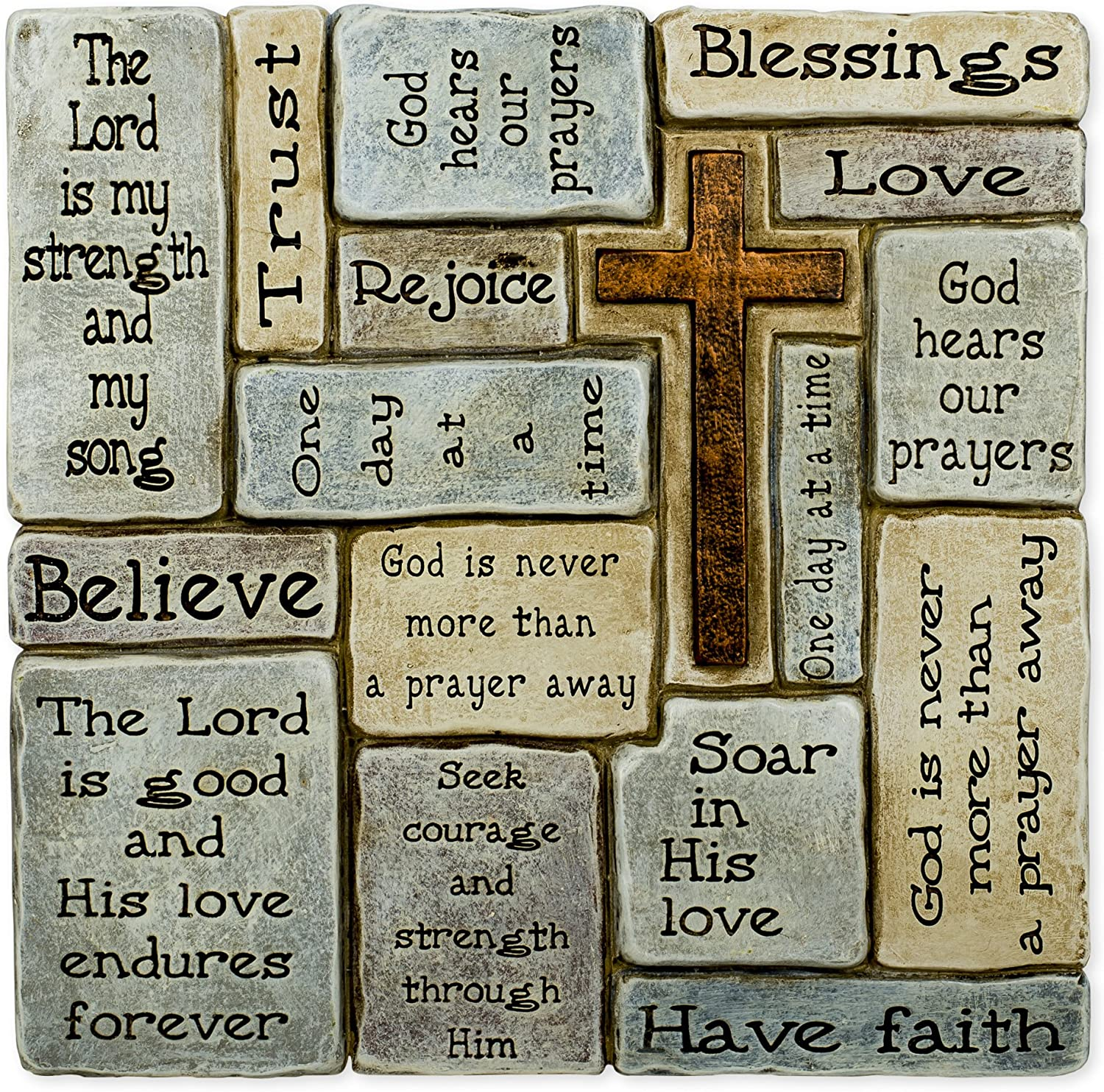 Christians Words and Saying Crossword 10 inch Resin Stoneware Wall Sign Plaque