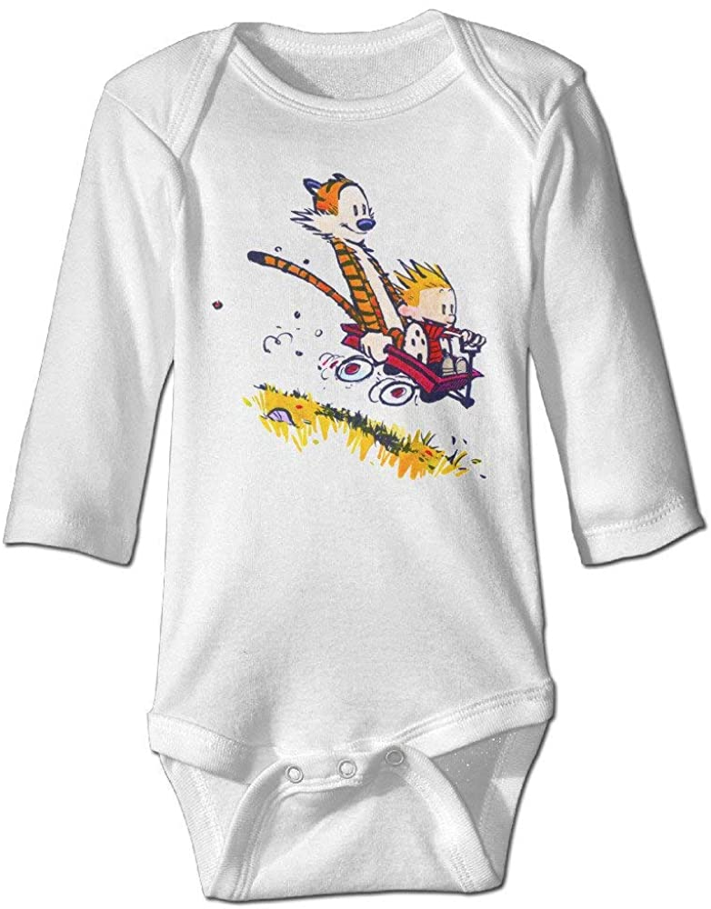 Pengshiliu Calvin and Hobbes Slope Design 0-24 Months Baby Long Sleeve Bodysuit