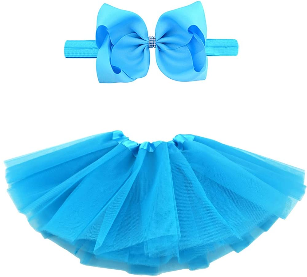 BGFKS 5 Layered Toddlers Tulle Tutu Skirt for Girls with Headband for Baby Girl 0 to 36 Months (Blue, S,0-6 Months)