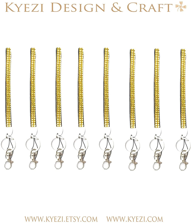 15 pcs Yellow 6 Short Wrist Strap Rhinestone Crystal Luxury Bling Bling Lanyard for Cell Phone ID Key Chain Holder Badge ID (Yellow, 15 Lanyards)