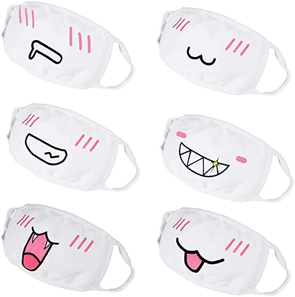Kaideny Adults Funny Print Washable Reusable Cotton Breathable Protective Mouth Cloth Face Bandanas Travel Indoor Outdoor