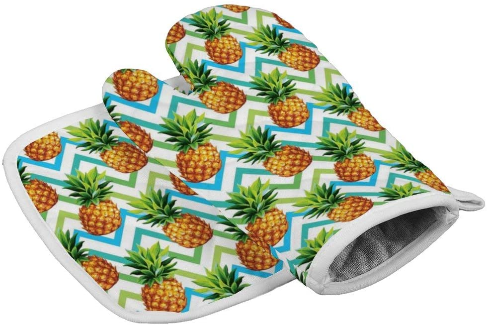 ACOGO Chevron Tropical Pineapple Oven Mitts and Pot Holders Sets Heat Resistant Oven Gloves with Non-Slip Surface for Safe BBQ Cooking Baking Grilling Set of 2