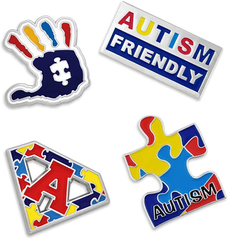 PinMart Autism Awareness Puzzle Piece Hand Print Enamel Lapel Pin Set