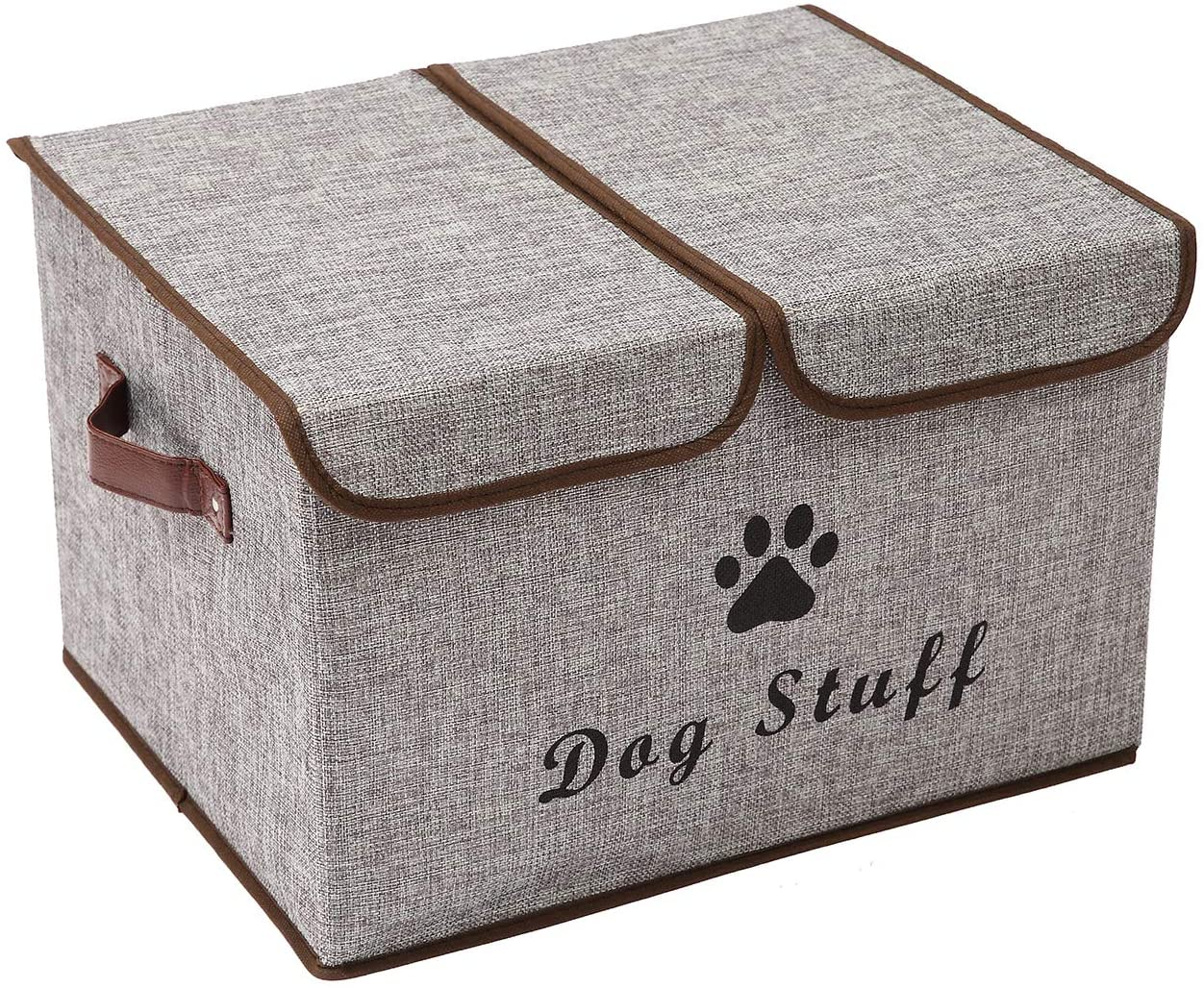 Xbopetda Linen Fabric Box with lid and Handles Foldable Dog Storage Cubes Box,Great for Dog Apparel & Accessories-Grey
