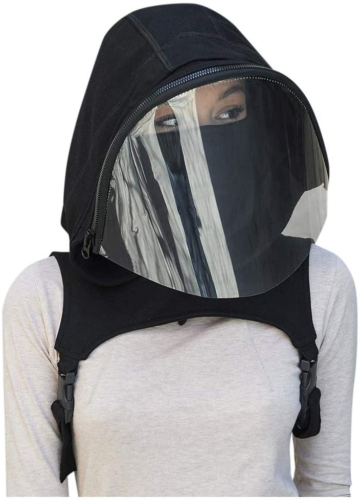 Msungsa Full Headgear with Transparent Film Hooded Hat Reusable Removable Shield Outdoor Windproof Face Bandanas with Zipper