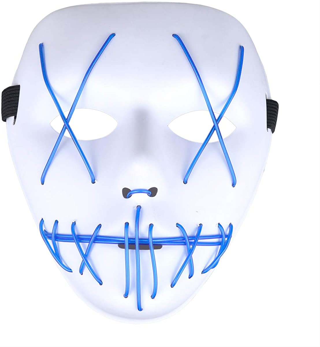 PINFOX Light Up Led Mask Purge Neon Flashing El Wire Glow Scary Costumes for Halloween, Party