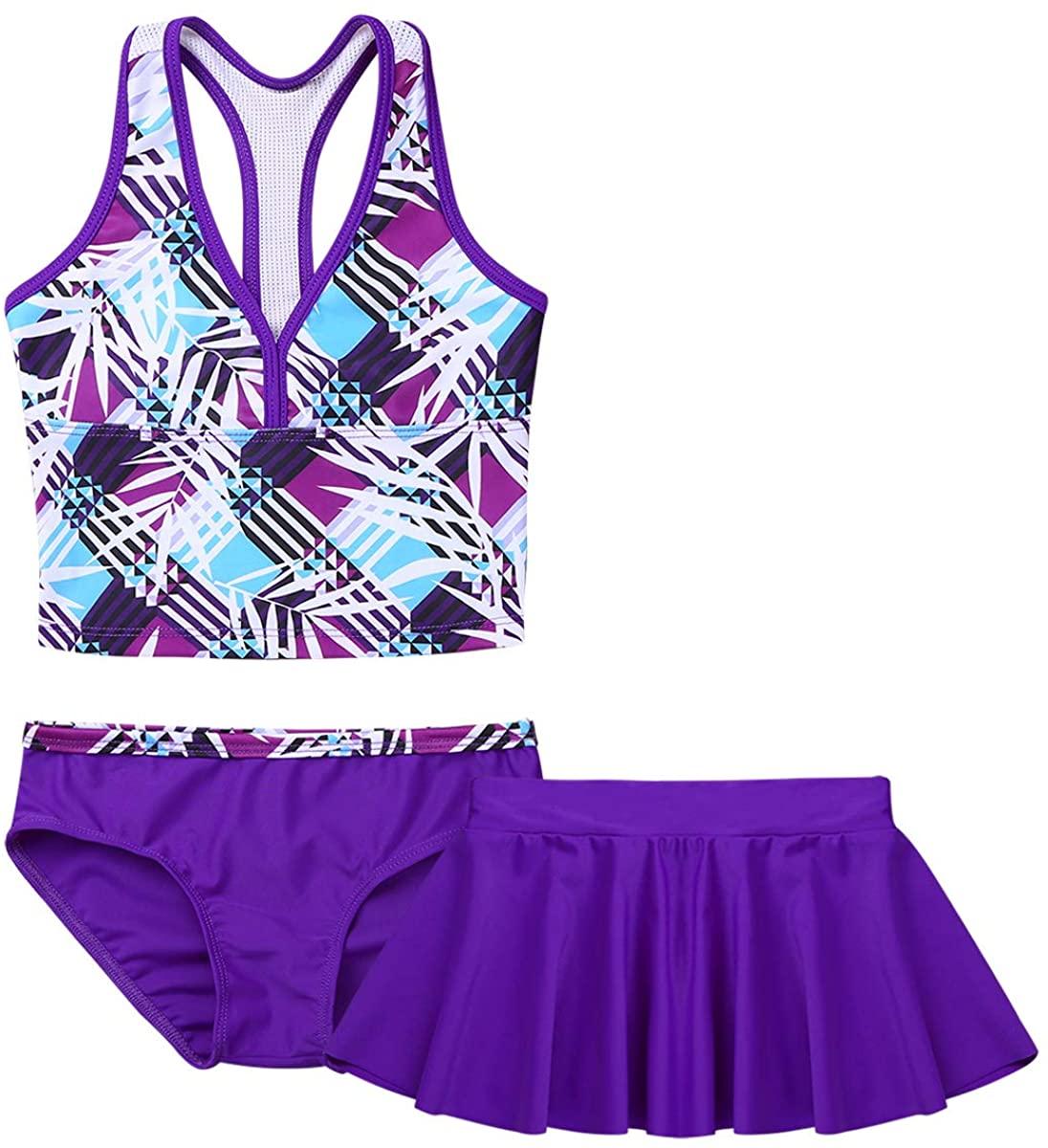 Haitryli Kids Girls 3 Piece Swimwear Swimsuit Tankini Outfits Sleeveless Racer Back Tops with Bottoms Skirts