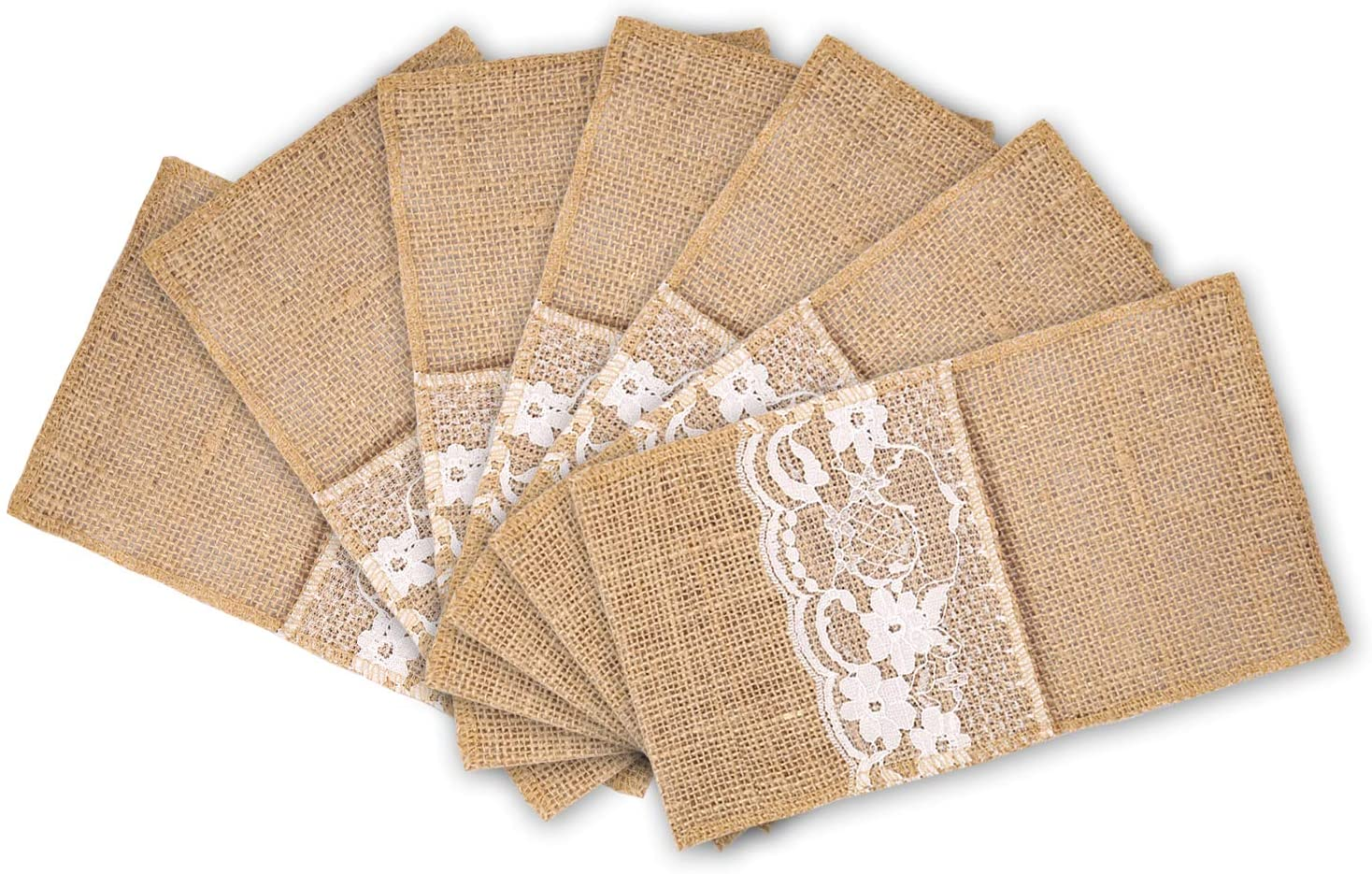 mds Pack of 75 Wedding Burlap 4 x 8 Lace InchUtensil Holders Silverware Cutlery Pouch Bag Lace Napkin Holders for Rustic Wedding and Tableware Decorations