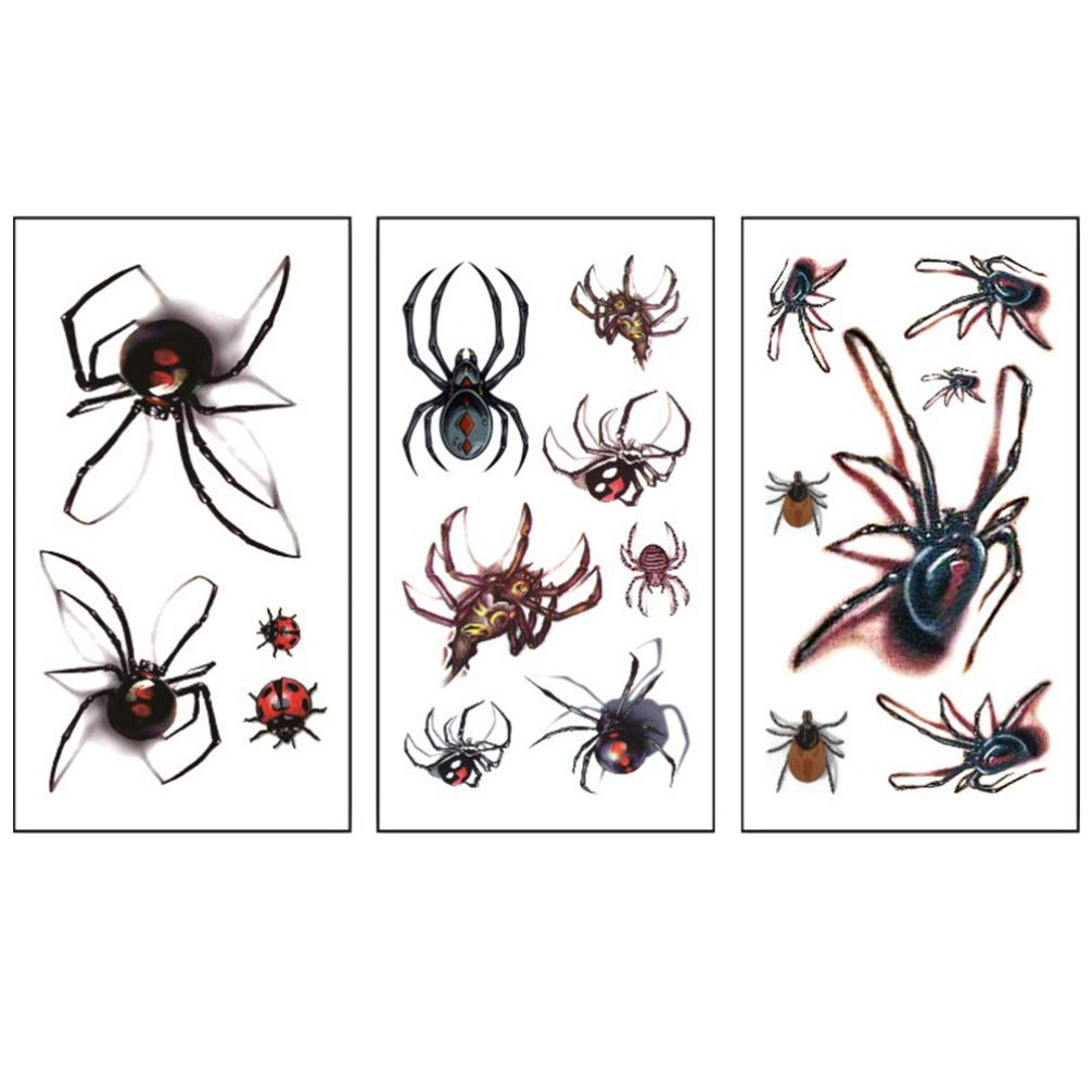 Minkissy Halloween Spider Tattoos Stickers 3 Sheets Halloween Face Tattoo Temporary Tattoos for Halloween Festival Party