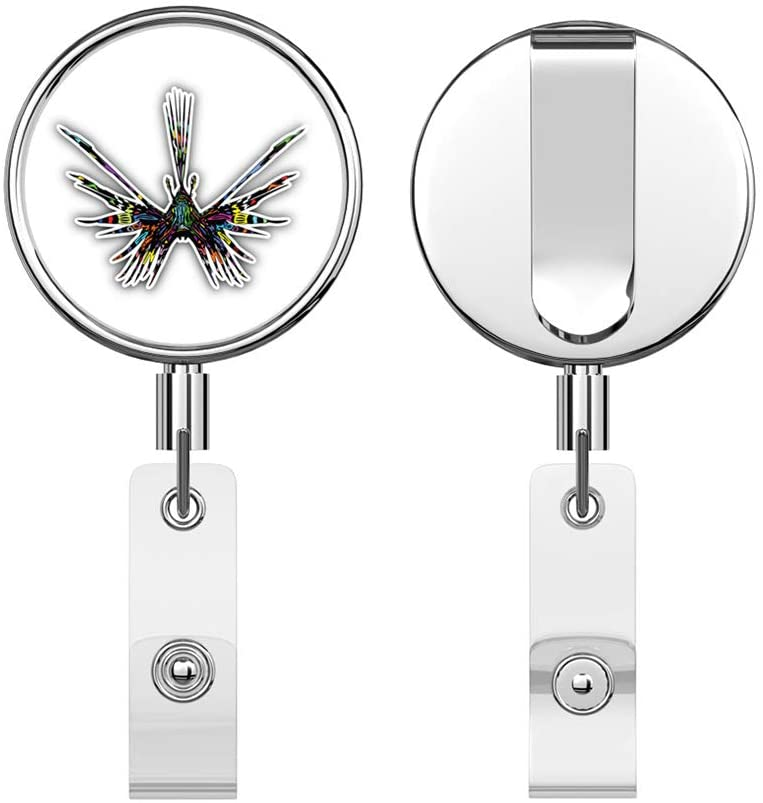 Lion Fish Psychedelic Round ID Badge Key Card Tag Holder Badge Retractable Reel Badge Holder with Belt Clip