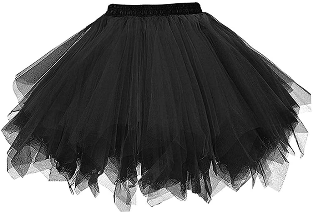 FEOYA Women Tulle Tutu Skirts Vintage Dance Skirt Party Prom Colorful Elastic Short Dress