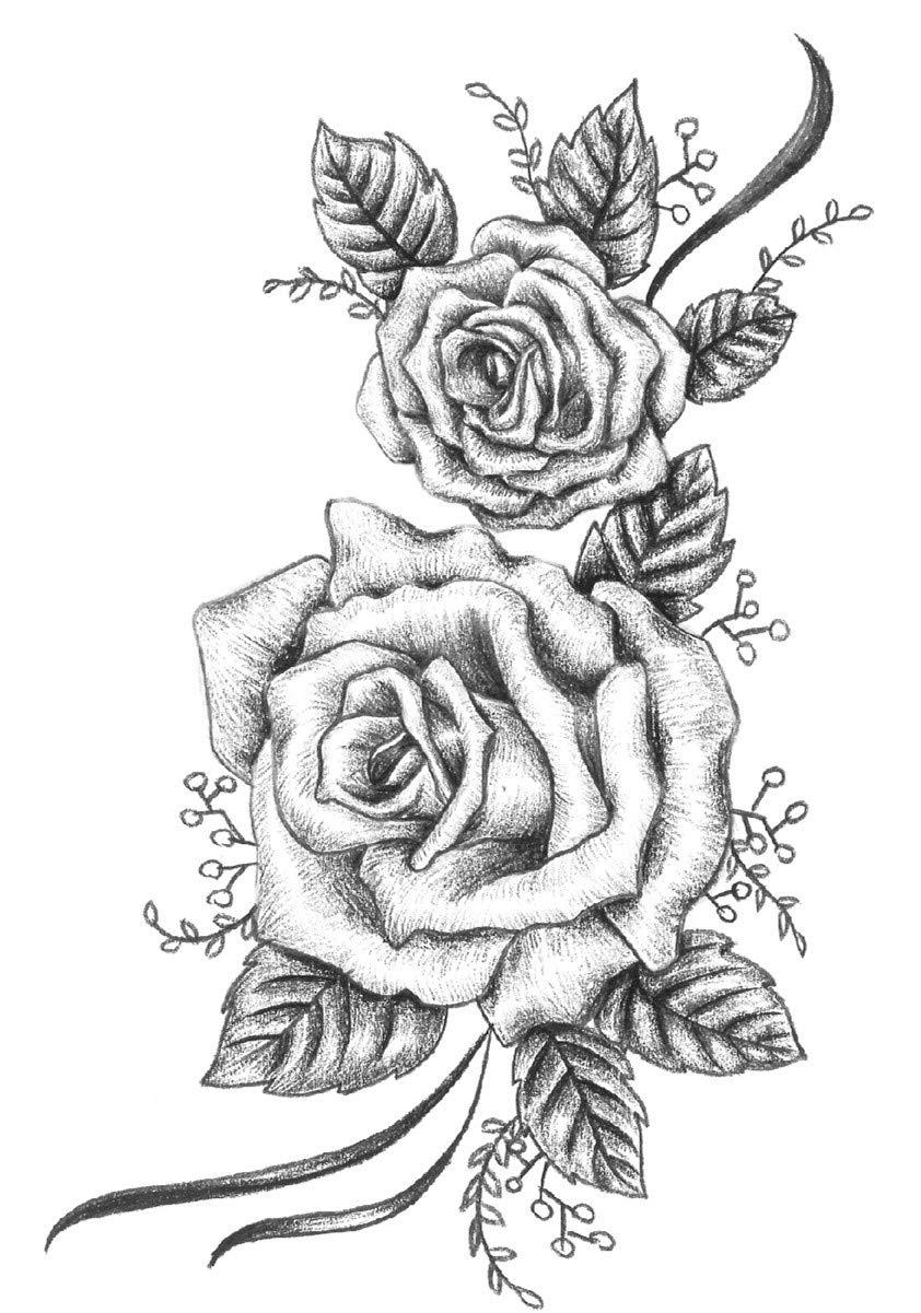 DaLin 4 Sheets Flower Temporary Tattoos for Women Men (Black Rose Style 8)