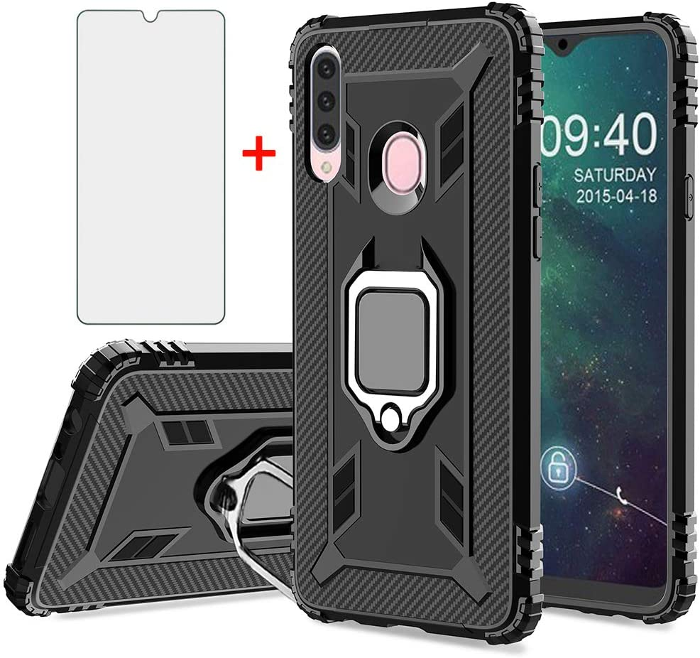 Phone Case for Samsung Galaxy A20s with Tempered Glass Screen Protector Cover and Cell Accessories Magnetic Kickstand Ring Holder Slim Full Body Protective Shockproof Silicone A20 2019 Cases Black