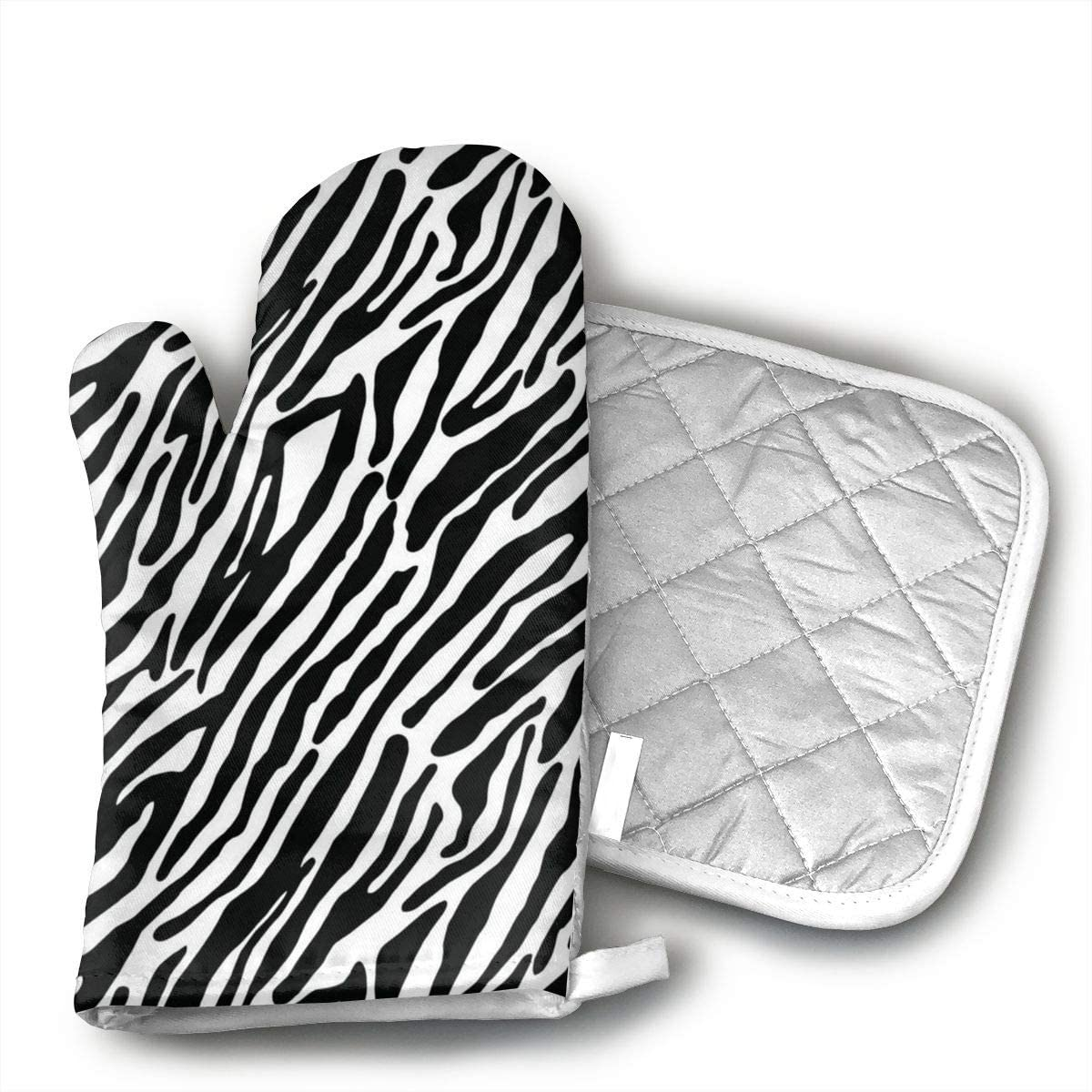 Zebra Pattern Oven Mitts and Potholders (2-Piece Sets) - Kitchen Set with Cotton Heat Resistant,Oven Gloves for BBQ Cooking Baking Grilling