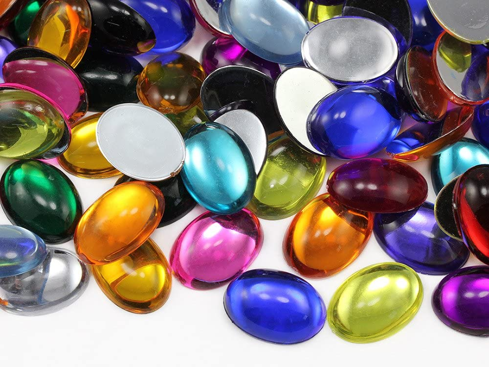 14x10mm Assorted Colors Flat Back Oval Acrylic Cabochons Rhinestones Plastic Gems Embellishments for Crafts, Costumes, Card Invitations, Jewelry, Cosplay - 125 Pieces