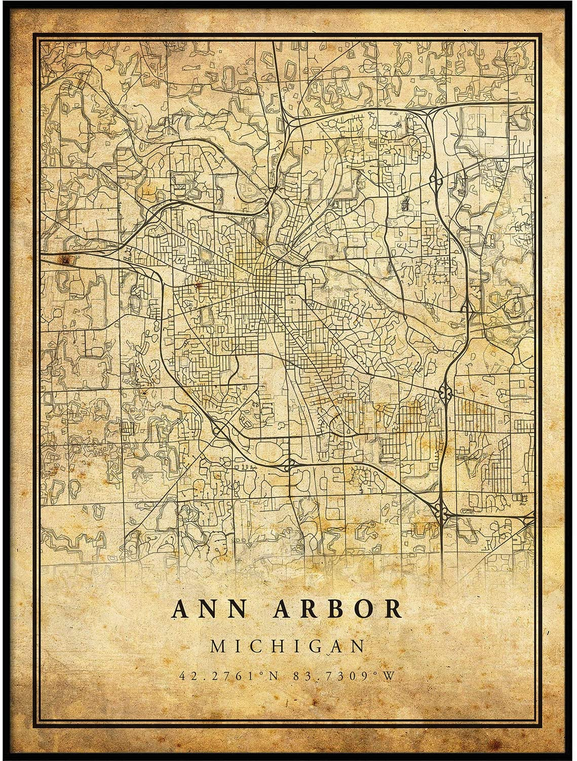 Ann Arbor map Vintage Style Poster Print | Old City Artwork Prints | Antique Style Home Decor | Michigan Wall Art Gift | high res Vintage map 8.5x11
