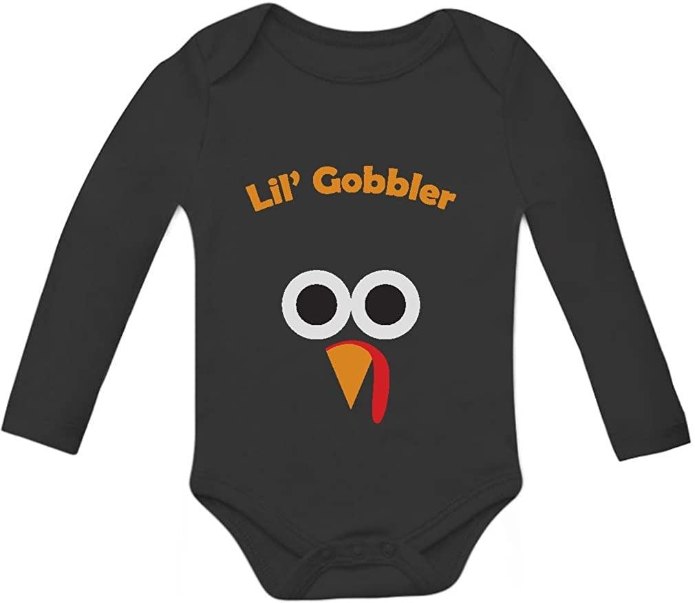 Lil' Gobbler Turkey Funny Gobble Thanksgiving Baby Outfit Long Sleeve Bodysuit
