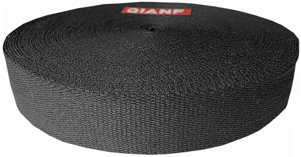 QIANF 1 1/2 Inch Black Heavy Cotton Webbing, 10 Yards