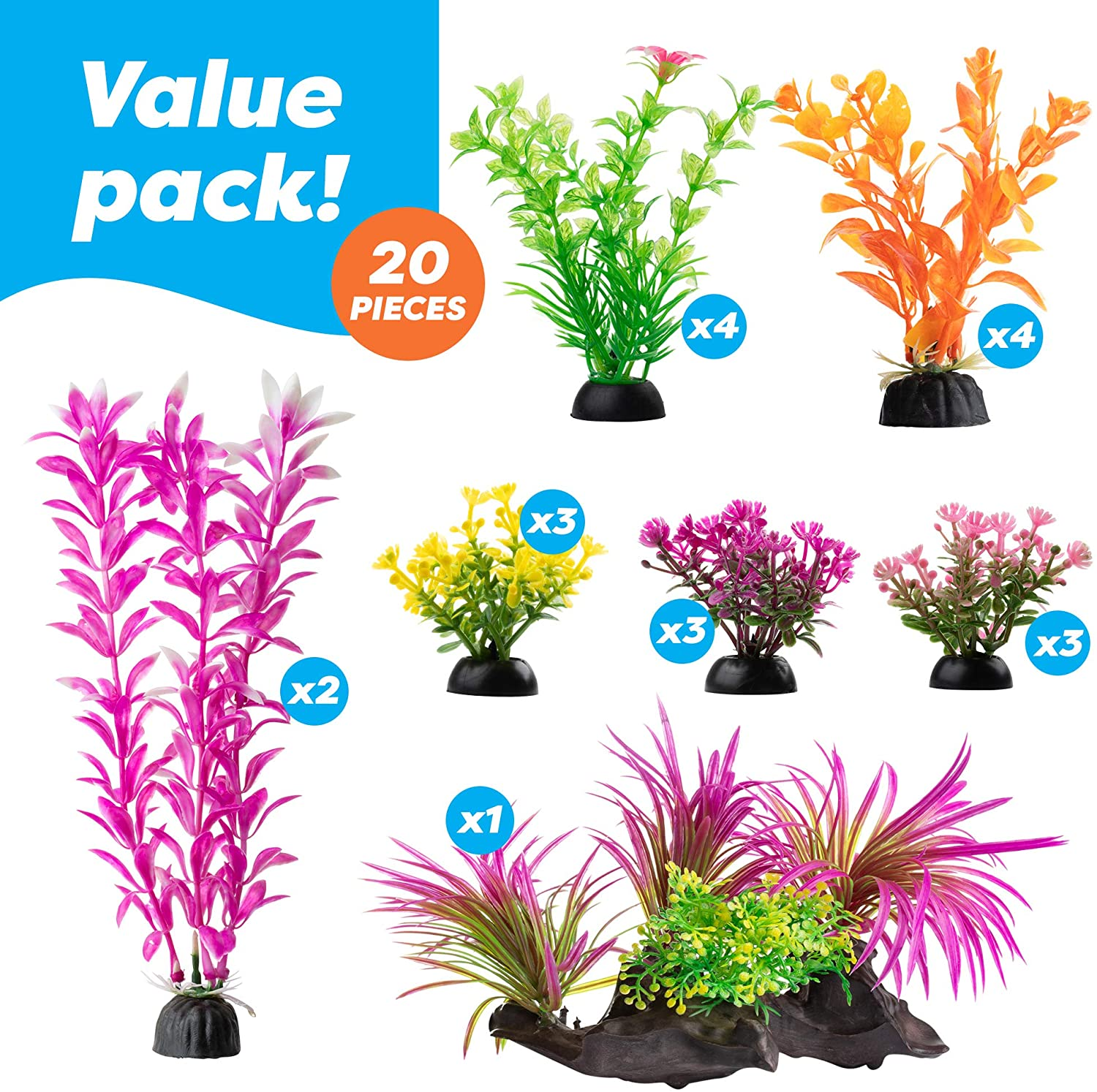 AroPaw Aquarium Decorations 20-30 Pack Lifelike Plastic Decor Fish Tank Plants, Small to Large