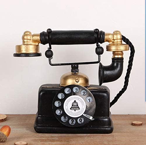 HoneyCare Large Creative Retro Decorative Phone Model, Vintage Rotary Telephone Decor Statue Artist Antique Phone Figurine Cafe bar Window Decor Model for Home Desk Decoration (7.48x6.3x3.94)
