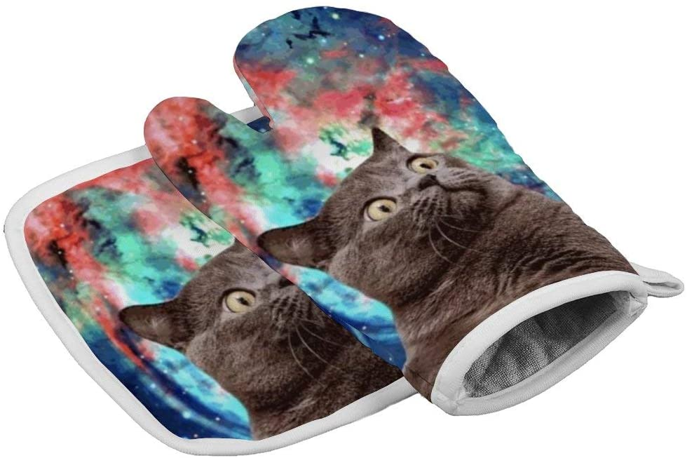 NiYoung Oven Mitt and Pot Holder with Hanging Loops, Heat Resistant Non-Slip Surface Safe for Baking, Cooking, BBQ (Watercolor Space Cat)
