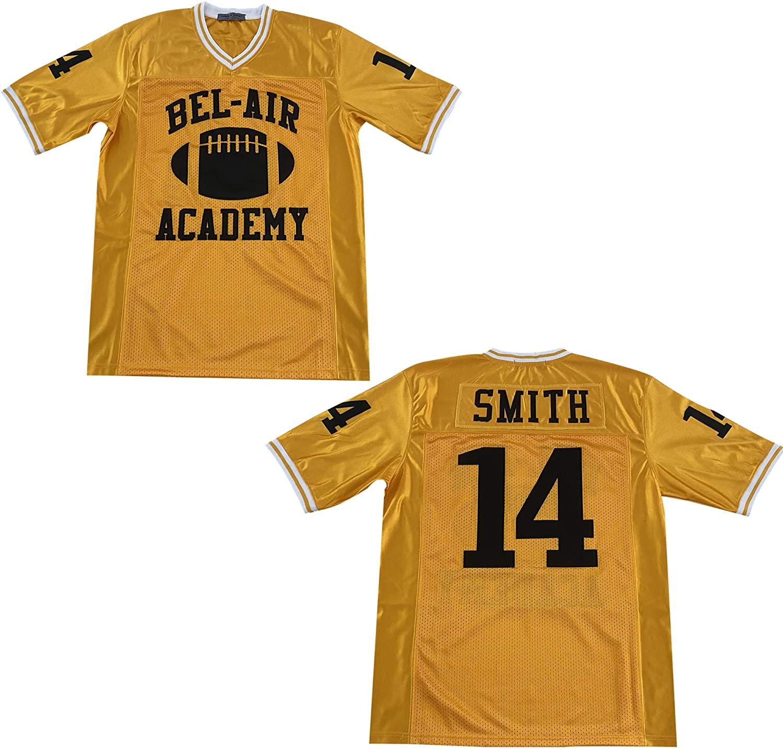 Rainbow Hawk Mens Smith #14 Bel Air Academy Yellow Football Jersey