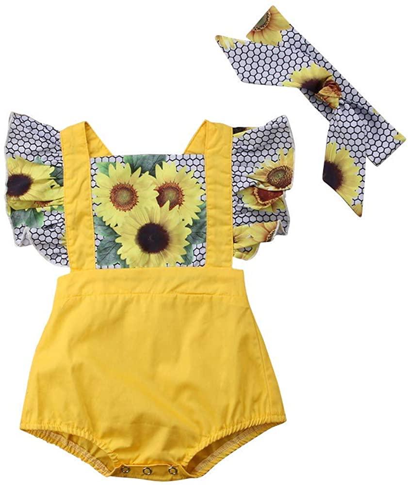 2PCS Newborn Baby Girls Leopard Ruffle Sleeve Romper Bodysuit Headband Backless Summer Sunsuit Coming Home Outfits Set