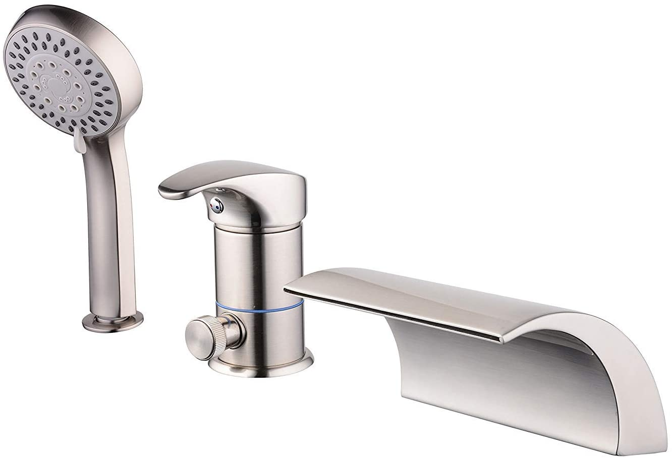 Roman Tub Filler Faucet Brushed Nickel Three Holes Single Handle with Waterfall Tub Spout and HandShower Set