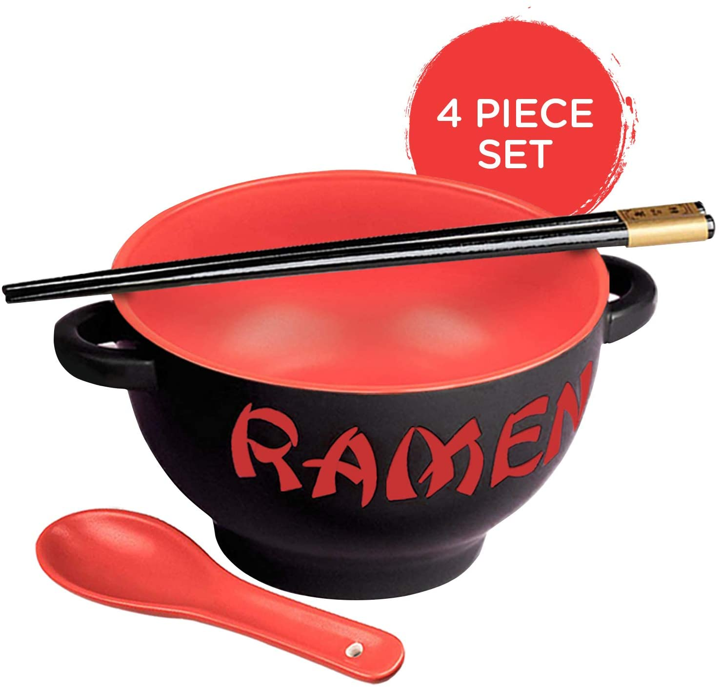 World Market Japanese Ceramic Ramen Bowl Set - 4 Piece Red Dragon Noodle Bowl with Soup Spoon and Chopstick - Soup Bowls for Noodle Soup, Ramen, Udon, Miso, Thai, Curry, Soba, Pho Soup - 17 Ounce