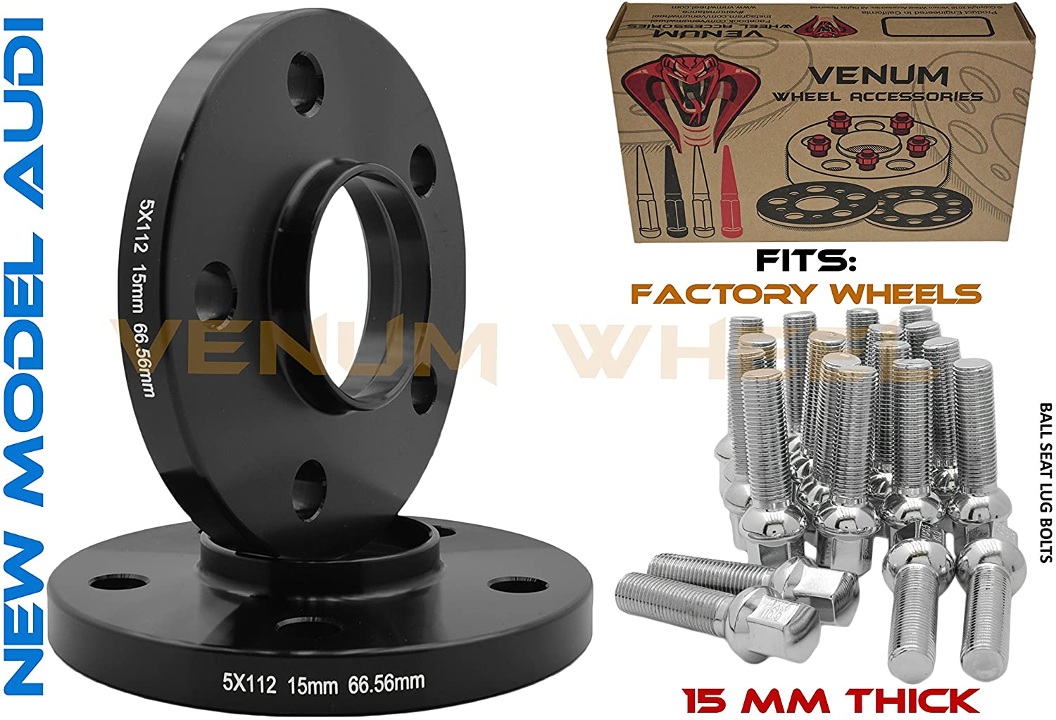 (2) 5x112 New Model Black HubCentric Wheel Spacers |15 mm Thick |14x1.5 Black Ball Seat Lug Bolts | 09-2019 A4 A5 A6 A7 A8 All Road S4 S5 S6 S7 RS5 RS7 Q5 SQ5 W/Factory Wheels