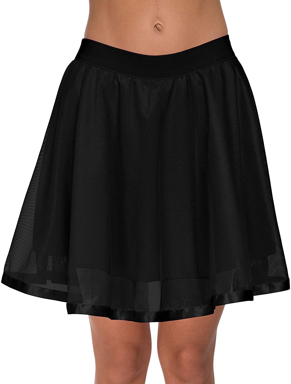 Womens Above Knee Tutu Tulle Petticoat Prom High Waist Mesh Flared Skater Skirt