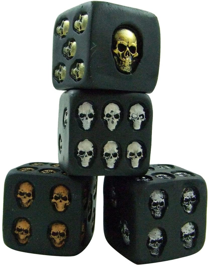 Set of 4 Large Skull Dice Scary Novelty Game Pieces Each Die is 1 1/2 Inches Long Per Side