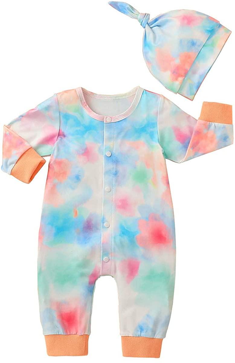 FYMNSI Newborn Baby Tie Dye Outfit Girls Boys Footless Romper + Hat Pajamas Set Long Sleeve Sleepwear Pjs Overalls Jumpsuit