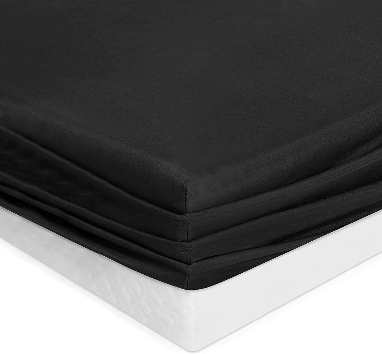 Joywell Bedding Fitted Sheet Super Soft Microfiber Microfiber Fabric Elastic Deep Pocket - Wrinkle, Fade, Stain Resistant, Black, King