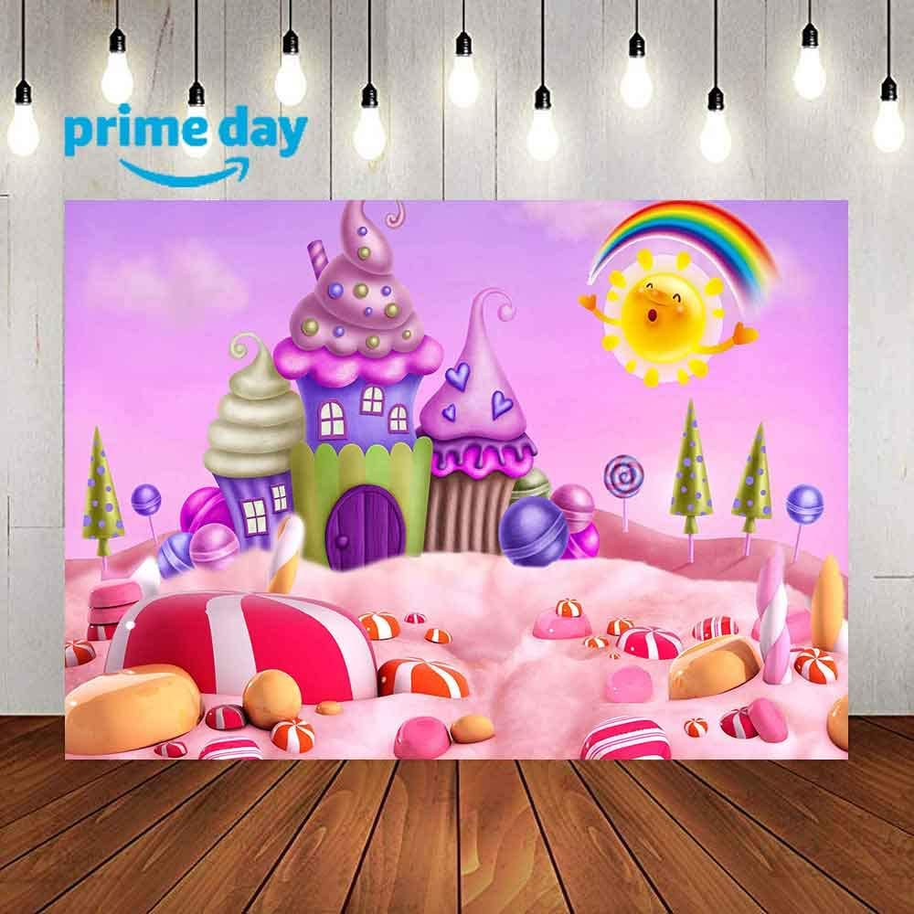 LUCKSTY Cartoon Candyland Sweets Backdrop for Photography 9x6ft Winter Ice-Cream House Lollipop Sun Rainbow Background Baby Shower Birthday Party Banner YouTube Props LUGY017
